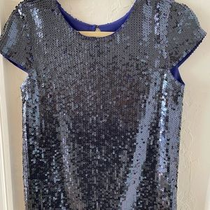 Theory Blue Sequined Short Sleeved Shirt